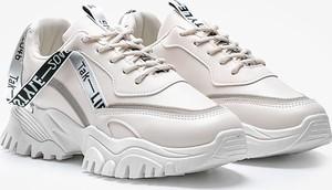 Buty sportowe Gemre.com.pl sznurowane w sportowym stylu ze skóry