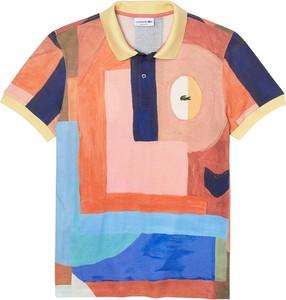 Pomarańczowy t-shirt Lacoste w młodzieżowym stylu z bawełny