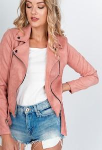 Różowa kurtka Zoio krótka z zamszu