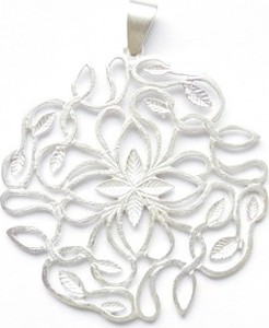 Venus Galeria Wisiorek srebrny - Ażur mały biały