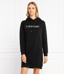 Czarna sukienka Calvin Klein mini z długim rękawem