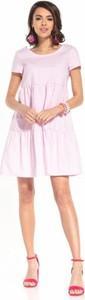 Sukienka Tessita z bawełny z okrągłym dekoltem z krótkim rękawem