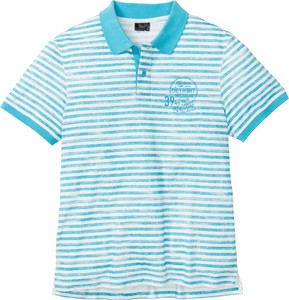 Niebieska koszulka polo bonprix bpc bonprix collection w stylu casual z nadrukiem z krótkim rękawem
