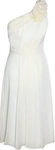 Sukienka Fokus z szyfonu z asymetrycznym dekoltem