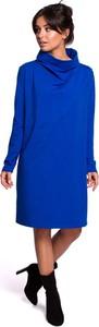 Niebieska sukienka MOE z golfem z długim rękawem midi