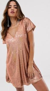 Sukienka Tfnc z dekoltem w kształcie litery v z krótkim rękawem mini