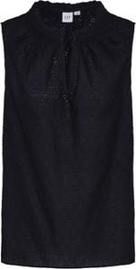 Czarna bluzka Gap z bawełny bez rękawów z okrągłym dekoltem