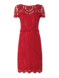 Czerwona sukienka Vera Mont rozkloszowana midi z krótkim rękawem