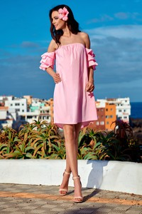 Różowa sukienka Lemoniade hiszpanka z krótkim rękawem mini