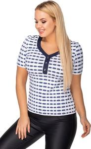 Bluzka Ptakmoda.com w młodzieżowym stylu z okrągłym dekoltem z tkaniny