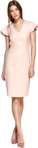 Różowa sukienka Colett z krótkim rękawem