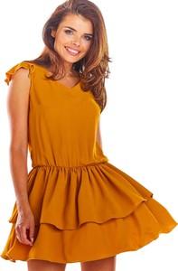 Pomarańczowa sukienka Awama mini w stylu casual