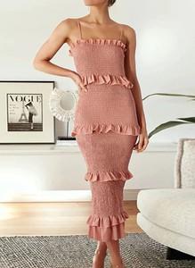 Różowa sukienka Arilook mini na ramiączkach z okrągłym dekoltem