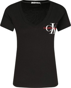 Czarny t-shirt Calvin Klein z krótkim rękawem