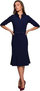 Niebieska sukienka Style midi z tkaniny z długim rękawem