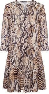 Brązowa sukienka VitoVergelis z długim rękawem z dekoltem w kształcie litery v