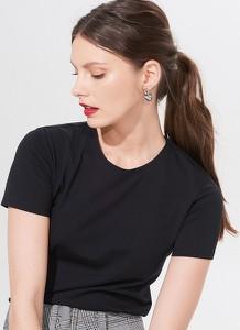 Czarny t-shirt Mohito z krótkim rękawem z bawełny w stylu casual