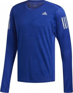 Niebieska koszulka z długim rękawem Adidas z długim rękawem w sportowym stylu