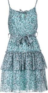 Niebieska sukienka Multu w stylu casual mini z dekoltem w kształcie litery v