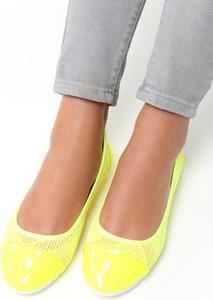 Żółte baleriny Multu ze skóry ekologicznej