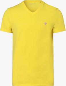 Żółty t-shirt Guess Jeans z krótkim rękawem z dżerseju