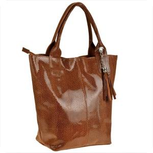 Brązowa torebka Borse in Pelle duża z frędzlami w wakacyjnym stylu