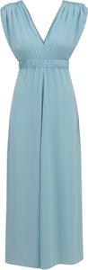 Niebieska sukienka L'AF z dekoltem w kształcie litery v z tkaniny