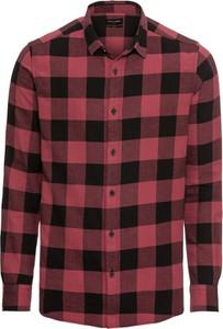 Czerwona koszula Only & Sons z bawełny z długim rękawem