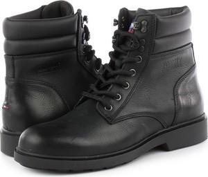 Czarne buty zimowe Tommy Hilfiger sznurowane