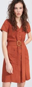 Pomarańczowa sukienka Sinsay z krótkim rękawem szmizjerka mini
