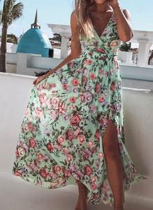 Sukienka Arilook z dekoltem w kształcie litery v maxi dopasowana