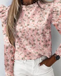 Różowa bluzka Kendallme z długim rękawem z okrągłym dekoltem