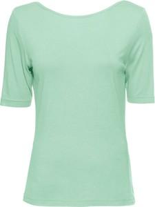 Zielony t-shirt bonprix BODYFLIRT z okrągłym dekoltem w stylu casual z krótkim rękawem