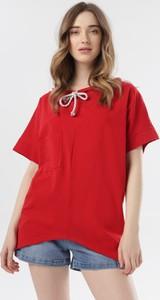 Bluzka born2be z krótkim rękawem w stylu casual z okrągłym dekoltem