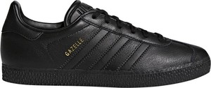 Czarne trampki dziecięce Adidas sznurowane w paseczki ze skóry