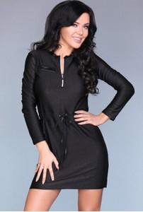 7c68fd4234 Czarna sukienka MERRIBEL z długim rękawem w sportowym stylu mini