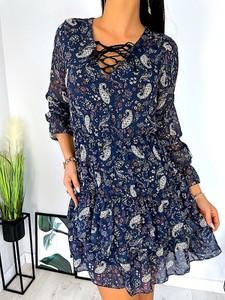 Granatowa sukienka ModnaKiecka.pl z długim rękawem mini w stylu casual
