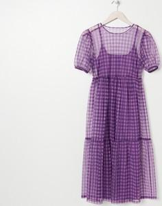 Fioletowa sukienka Sinsay mini z okrągłym dekoltem w stylu casual