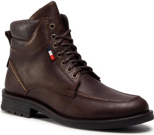 Brązowe buty zimowe eobuwie.pl sznurowane