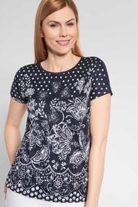 Granatowa bluzka QUIOSQUE z okrągłym dekoltem z krótkim rękawem
