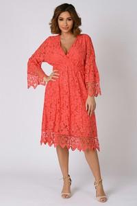 Czerwona sukienka Plus Size Company z bawełny kopertowa