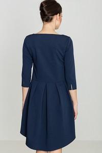 Sukienka LENITIF z okrągłym dekoltem mini z długim rękawem
