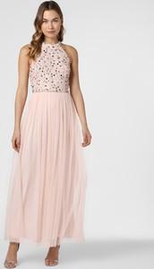 Różowa sukienka Hailey Logan maxi z dekoltem halter rozkloszowana