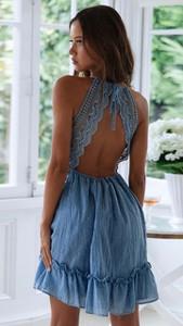 Niebieska sukienka noshame mini z dekoltem w kształcie litery v bez rękawów