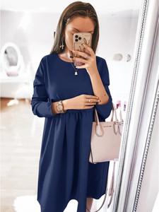 Sukienka magmac.pl z długim rękawem mini z okrągłym dekoltem