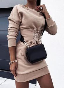 Sukienka Cikelly gorsetowa z dresówki z długim rękawem