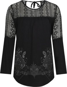 Czarna bluzka Desigual z długim rękawem w stylu boho