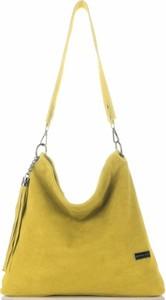 Żółta torebka VITTORIA GOTTI ze skóry średnia