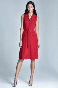 Czerwona sukienka Merg midi szmizjerka