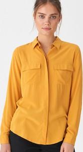 Żółta koszula House z kołnierzykiem z długim rękawem